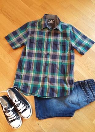 Стильная трендовая шведка рубашка с коротким рукавом vans на 8-10 лет