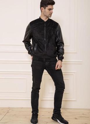 Заканчивается!куртка бомбер мужская с кожаными.   рукавами цвет черный xs s