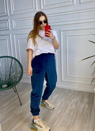 Синие велюровые штаны с высокой посадкой