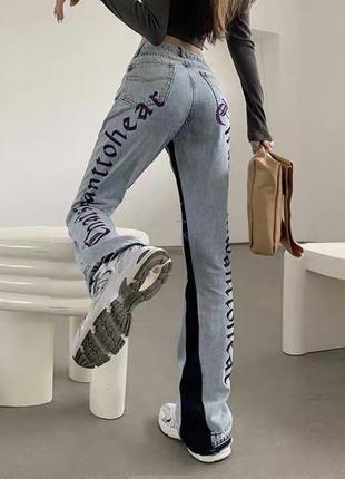 Джинсы с надписью с вышивкой джинсы с буквами принт аниме гранж dollskill