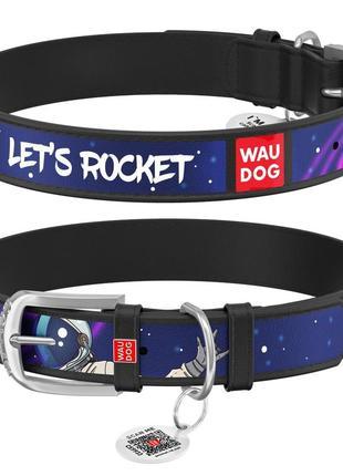 """Ошейник для собак waudog design, рисунок """"ракета"""", металлическая пряжка"""