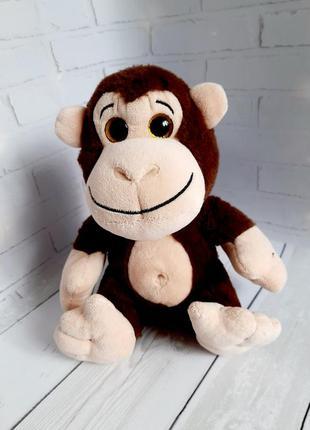 Мягкая игрушка обезьяна 21 см сидя блестящие глазки zaks
