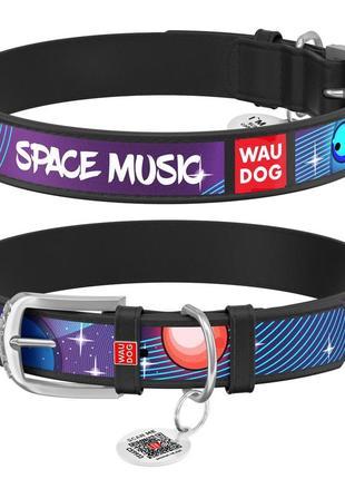 """Ошейник для собак waudog design, рисунок """"космическая музыка"""", металлическая пряжка"""
