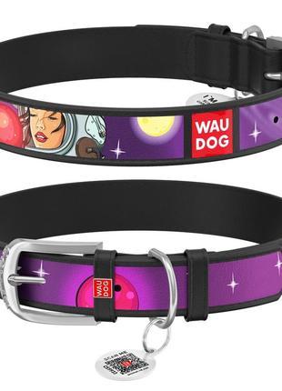 """Ошейник для собак waudog design, рисунок """"больше космоса"""", металлическая пряжка"""