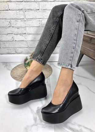 35-41 рр женские черные туфли на танкетке, платформе натуральная кожа/замша