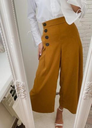Горчичные брюки штаны кюлоты zara из новых коллекций