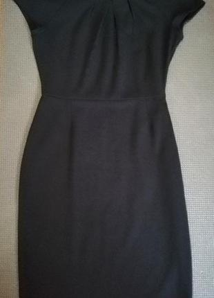 Платье женское чёрное миди короткий рукав хлопок строгое офисное