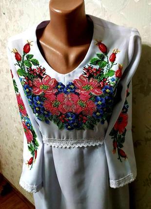 Шикарна сукня вишита бісером вишиванка плаття платье вышиванка вышитое бисером
