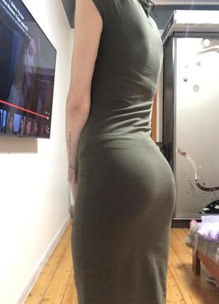 Платье по фигуре милитари хаки длинное