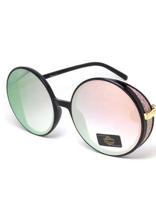 Солнцезащитные очки ricardi круглые с зеркальными линзами черная оправа