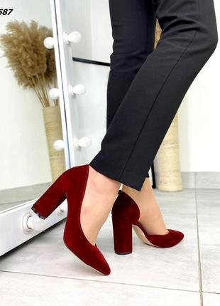 ❤ женские бордовые замшевые туфли ❤