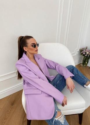 Блейзер пиджак жакет эко кожа лавандовый сиреневый новый