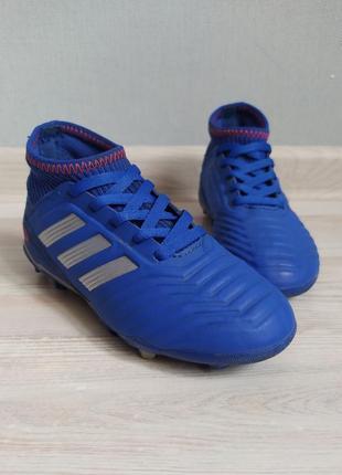 Крутые детские  синие бутсы копы кроссовки adidas 18см