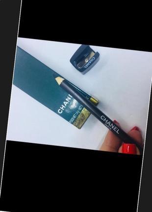 Chanel карандаш с точилкой серый зеленый ( болотный) в коробке