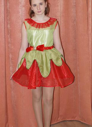 Карнавальный костюм цветок,клубничка нарядное платье для девочки