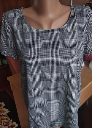 Футболка блуза в гусиную лапку ( клетку )