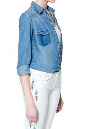 Суперская джинсовая рубашка trafaluc zara с вышивкой