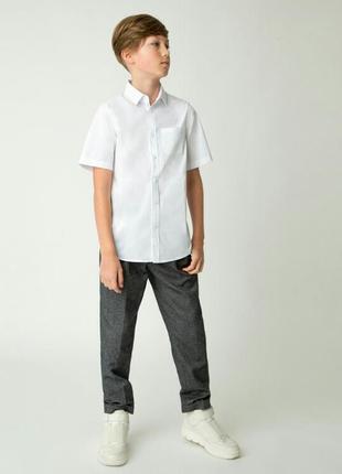 Белая школьная хлопковая рубашка на мальчика