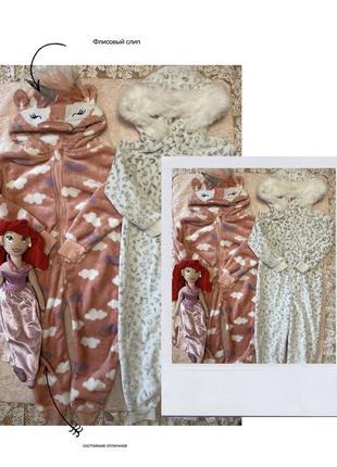 Флисовый слип, пижама единорог и белый с опушкой на 3-4 г, 104 см
