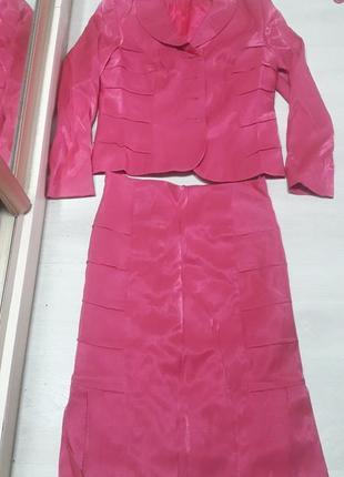 Костюм перламутровый розовый