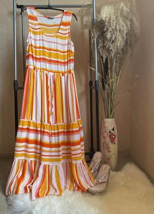 Яркое длинное платье 14 р roman