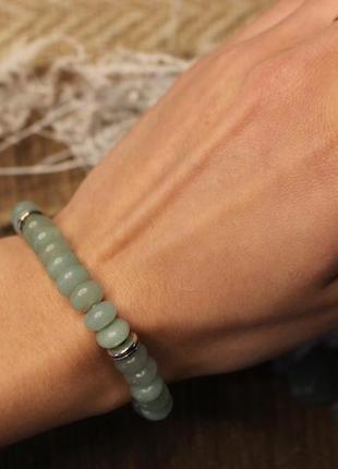 Браслет з імітації авантюрину м'ятного кольору 💚. жіночий браслет. чоловічий браслет.6 фото