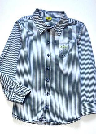 Kiki&koko котоновая рубашка в полоску с рисунком на кармане. 7 лет