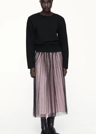 Комбинированная юбка с вышивкой плюмети