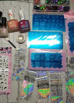 Набор для ногтей маникюра стемпинга пластины лаки наклейки штамп фольга камуфубуки втирка