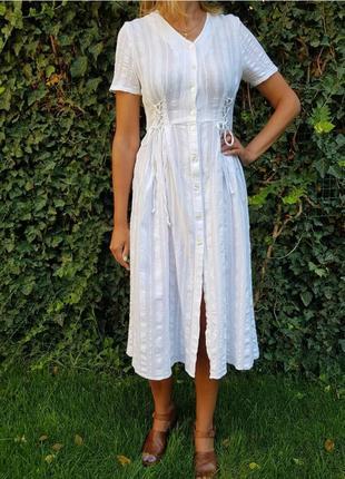 Стильное белое платье,хлопок,тренд