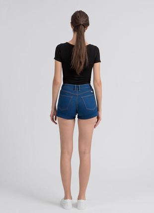 Светлые синие голубые джинсовые шорты короткие высокая талия посадка стрейч батал