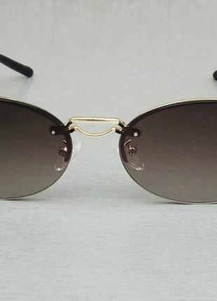 Burberry трендовые овальные узкие солнцезащитные очки коричневые с градиентом