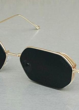 Gucci трендовые узкие семигранные очки черные в золоте