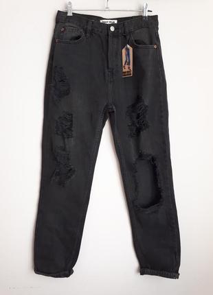 Крутые рваные джинсы  , высокая талия , mom