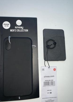Чехол на iphone x, xs + карман для карты