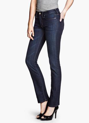 Джинсы h&m прямые классические, женские штаны, темно-синие, средняя посадка