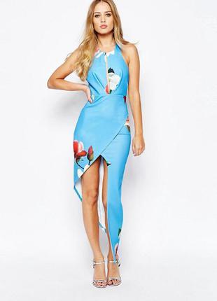 Платье-футляр с вырезом, цветами и асимметричной юбкой ginger fizz