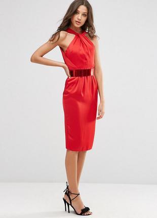 Платье-футляр с поясом металлик asos tall