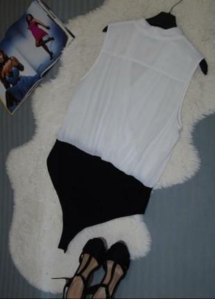 Боди блузка new look белый чёрный комбинированный на запах