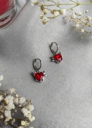Сережки/ серьги / маленькі / маленькие / сердечки / с камнями / сердца