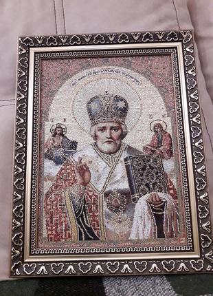 Икона гобелен золотое шитье святой николай