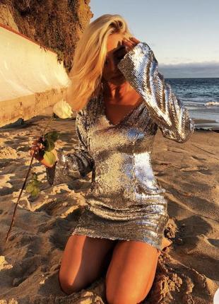 Шикарное платье в паетках na-kd4 фото