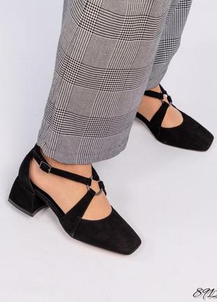 Замшевые туфли на каблуке натуральная кожа