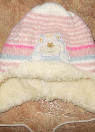 Шапка зима c утеплителем, фирма anpa, на девочку, ог 44 см