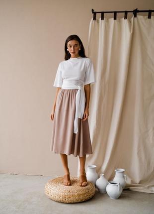 Костюм льняной из льна блуза юбка льняная новый белый бежевый
