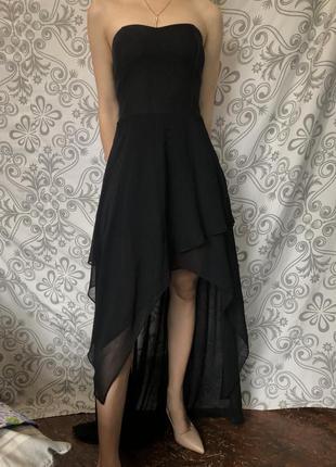 Платье вечернее чёрное нарядное две длины