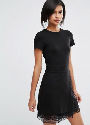 Эластичное цельнокройное платье с кружевом french connection lula