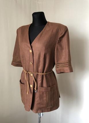 Ретро винтаж коричневый жакет лён ажурная тесьма