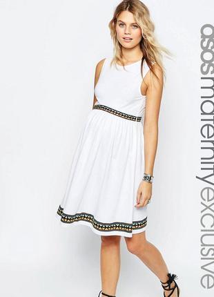 Приталенное платье для беременных с вышивкой asos maternity