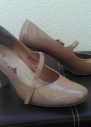 Кожаные офисные пудровые туфли